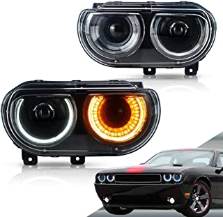 VLAND LED Headlights for [Dodge Challenger 2008-2014] (Turn Signal with Sequential Indicator) YAA-DG-0299 H