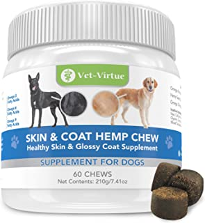 VET-VIRTUE Omega 3 for Dogs - Skin and Coat Soft Chew with Fish Oil for Dogs, Coconut Oil, EPA and DHA Supports Dog Skin A...