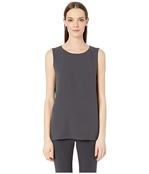 56c823a32875e4 Eileen Fisher Silk Georgette Crepe Scoop Neck Long Shell at Zappos.com