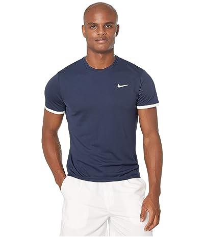 Nike NikeCourt Dri-FIT Short Sleeve Tennis Top (Obsidian/White/White) Men