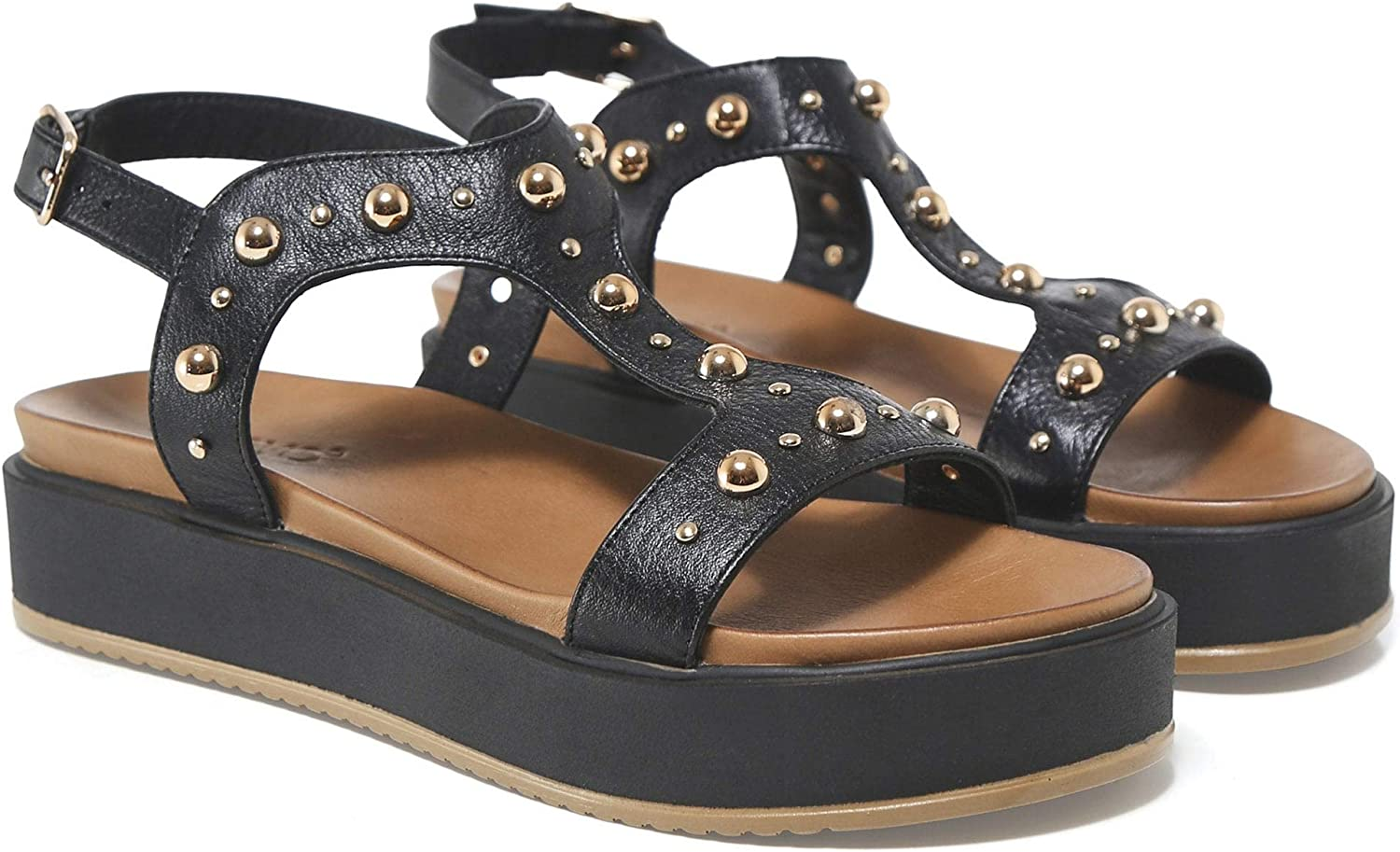 Inuovo Women's Leather T-Bar Studded Sandals Black