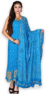 Kasturi-B Women's Blue Bandhej Pure Georgette Gota-Patti Work 3pc Suit