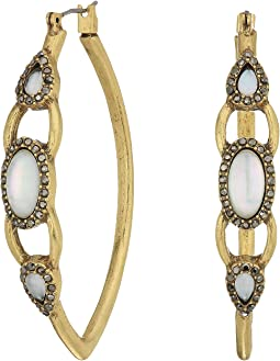 Lucky Brand Set Stone Hoop Earrings
