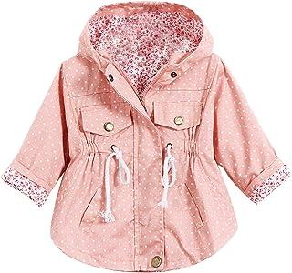 Evelin LEE Kids Girl Toddler Girls Spring Fall Trench Coat Wind Hooded Jacket