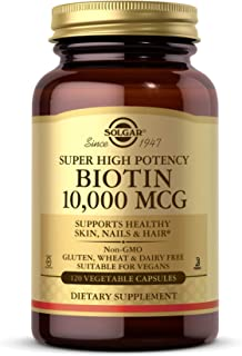 Solgar Biotin 10,000 mcg, 120 Vegetable Capsules - Energy, Metabolism, Promotes Healthy Skin, Nails & Hair - Super High Po...