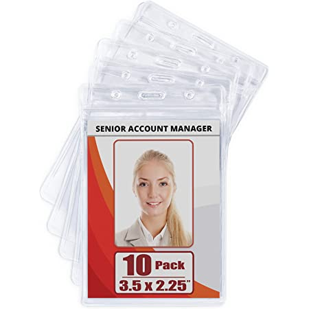 Waterproof Card Holder Lanyard Vertical ID Clear Plastic Badge Sealable 10 Pack