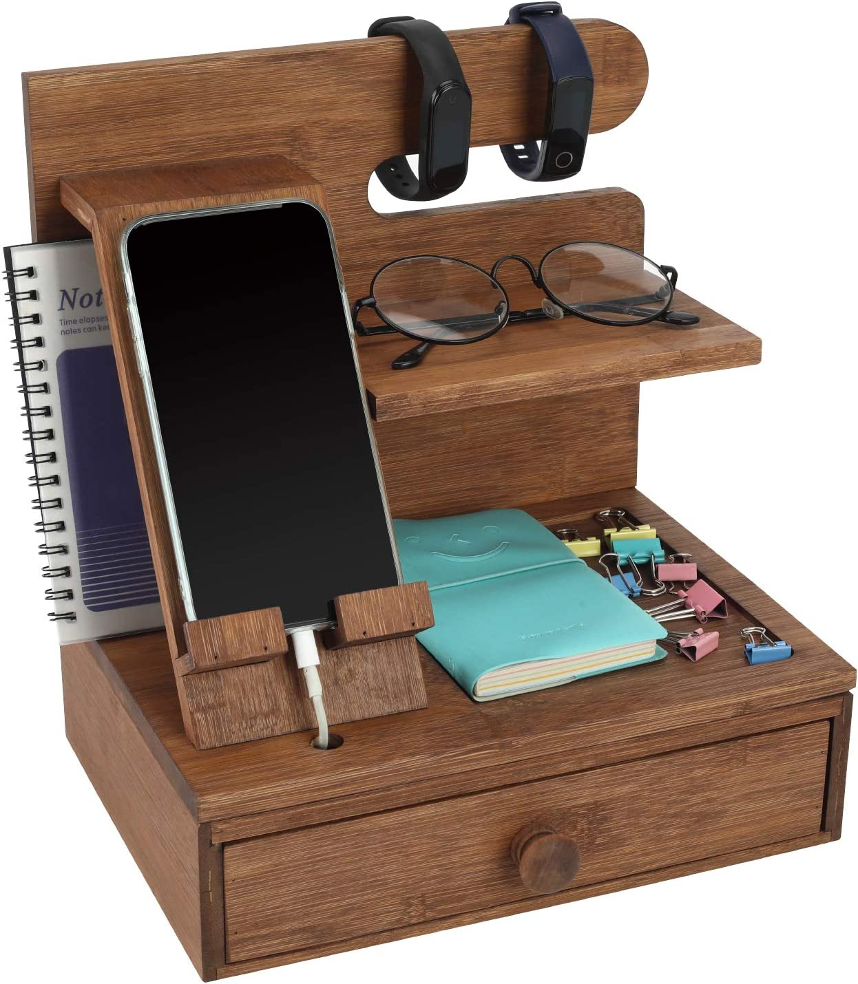 TQVAI Bamboo Desktop Phone Docking Station with Drawer Home & Office Wallet Stand Glasses Holder Watch Organizer for Men, Husband, Daddy Gift, Retro Brown
