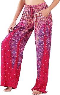 LOFBAZ Women's Wide Leg Harem Pants Yoga Lounge Hippie Palazzo Pajamas Trousers Ladies Petite Summer Hippy Comfy Travel Belly Dance Slacks - Peacock 1 Burgundy and Gold - S