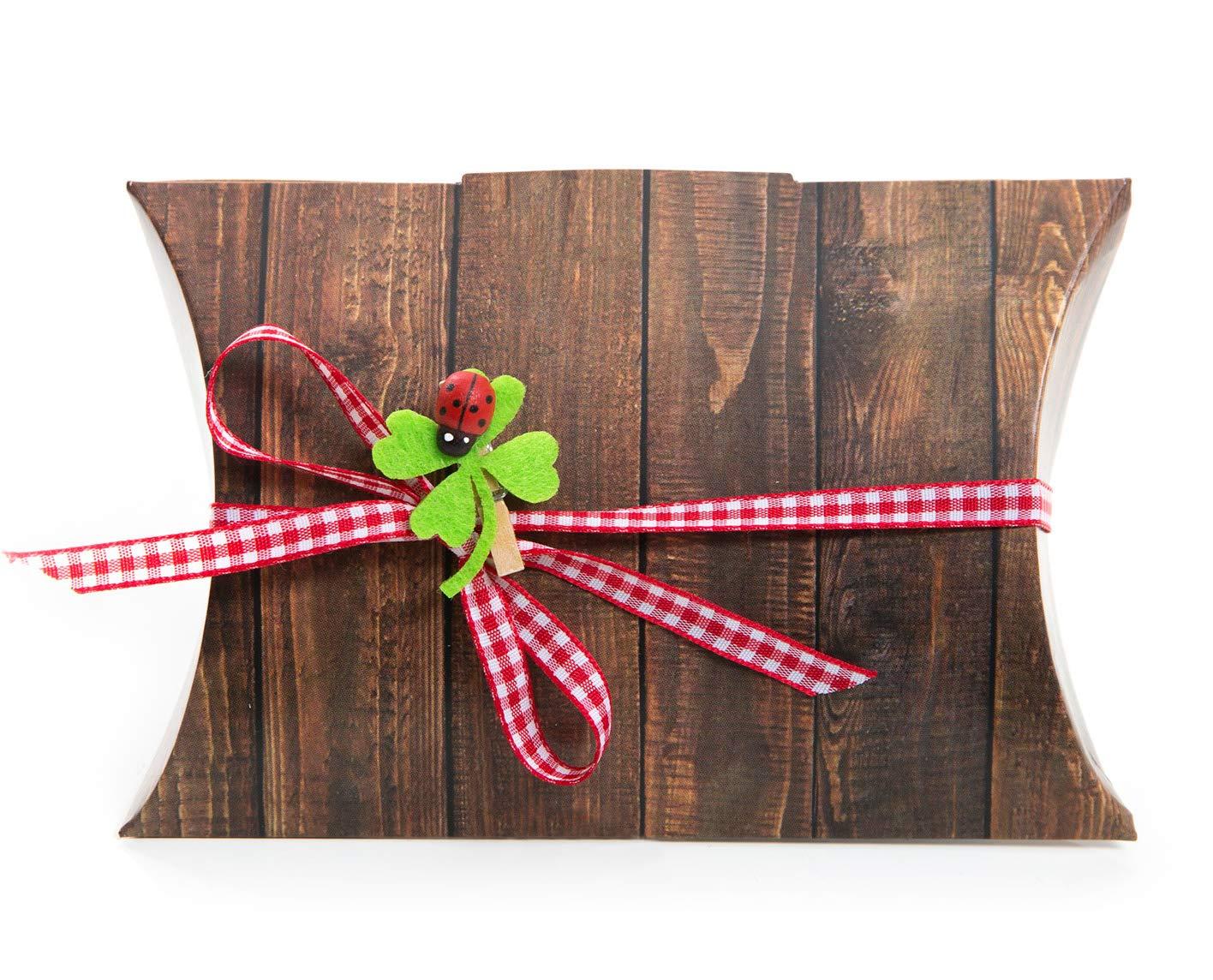 14 Pequeñas marrón regalo de caja Caja de cartón de regalo Box (14,5 x 10,5 + 3 cm altura) + 14 Trébol grapas + 14 rojo y blanco cuadros lazos – del paquete para regalos: Amazon.es: Oficina y papelería