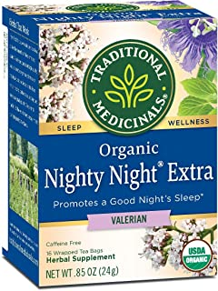 Traditional Medicinals Nighty Night Valerian, Naturally Caffeine Free Herbal Tea for Sleep Support, 16 CT (Pack - 2)