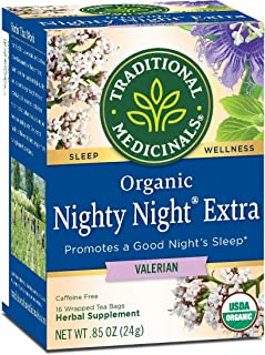 Traditional Medicinals Organic Nighty Night Valerian Herbal Tea - 16 bags per pack - 6 packs per case.