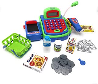 Playee Kids Toy Cash Register - Pretend Play Educational Toy Cash Register with Electronic Sounds, Play Money, Grocery Toy and More! Great Children`s Supermarket Checkout Toy