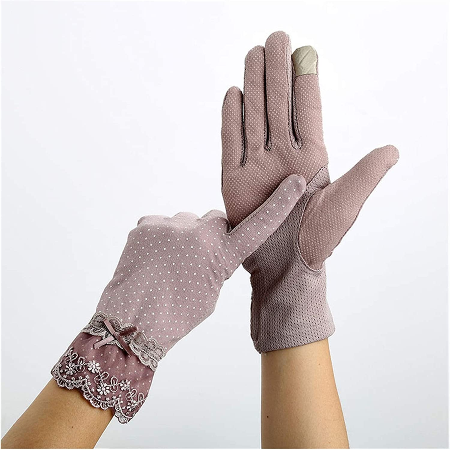 DMYONGLIAN Lace Gloves Women Sunscreen Gloves Summer Lace Stretch Touch Screen Mitten Anti-UV Wrist Short Slip Resistant Driving Glove Accessories (Color : Purple, Gloves Size : One Size)