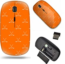 Unique Pattern Optical Mice Mobile Wireless Mouse 2.4G Portable for Notebook, PC, Laptop, Computer - Ice Hockey on Orange ...