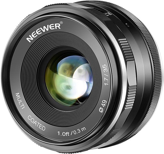 Neewer 35mm F / 17 Gran Aperture HD MC Lente Fija Manual Prime APS-C para Canon EF-M Lente de Montaje EOS M Series Cámaras sin Espejo M100 / M10 / M6 / M5 / M3 / M2