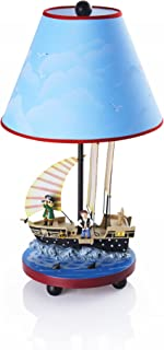 Guidecraft Hand-Painted & Hand Crafted Pirate Table Lamp for Kids Room