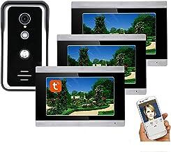 7 Inch Video Deurtelefoon Systeem, Wifi Video Deurbel, Outdoor Nachtzicht Camera + 3 LCD Monitor, Tuyasmart APP Unlock, In...