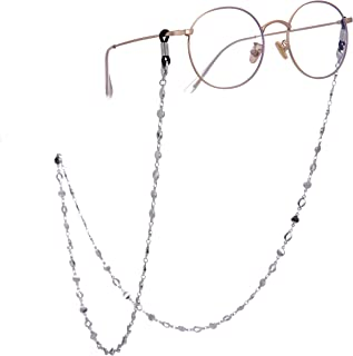 TEAMER Reading Eyeglass Straps Holder Stylish Circle Eyeglass Chain and Cords Lanyards for Women(Gold/Silver)