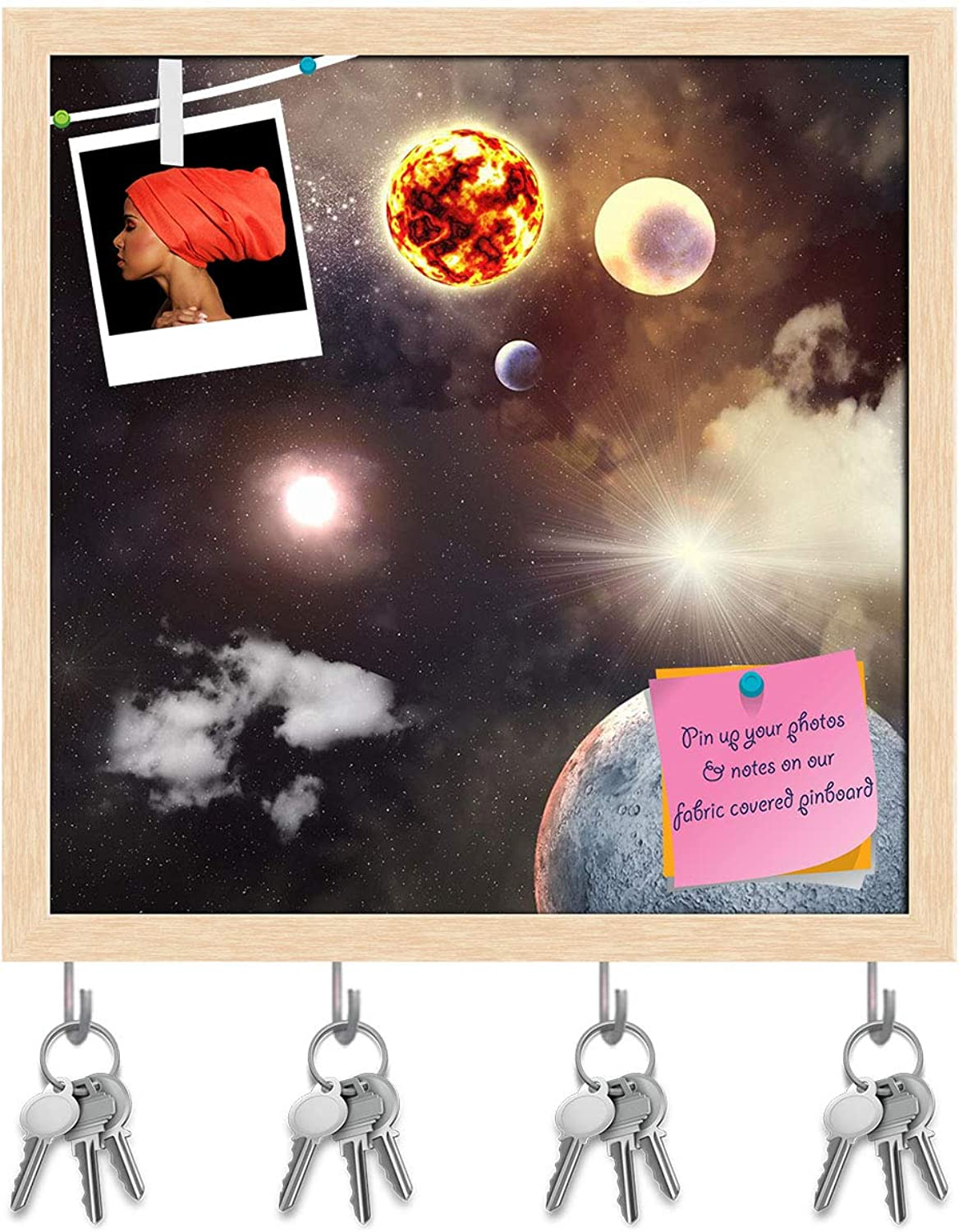 Artzfolio Planets in Fantasy Space D2 Key Holder Hooks   Notice Pin Board   Natural Brown Frame 20 X 20Inch