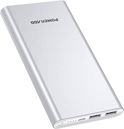 POWERADD Versión Mejorada Pilot 2GS Power Bank 10000mAh (Doble Puerto de Salida, 3.1A+3.1A) Cargador Portátil Batería Externa para iPhone, iPad, Huawei, Samsung y Más - Argentado