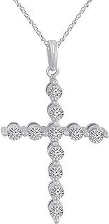 0.11 CT (Clarity I1-I2/Color I-J) Natural Diamond 14K White Gold Fn Cross Pendant 18