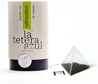LA TETERA AZUL Té Verde Premium Gunpowder Con Hierbabuena. Té Verde Árabe Moruno Marroquí. Bote De 20 Pirámides.