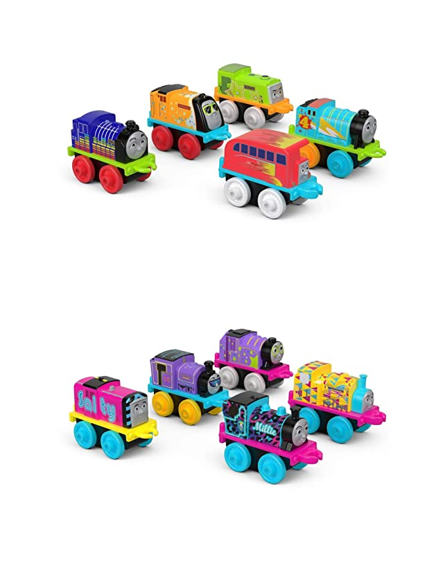 Thomas & Friends Fisher Price MINIS Set of 2 Glow in The Dark Toy Train 5 Packs - Sweet & Cool