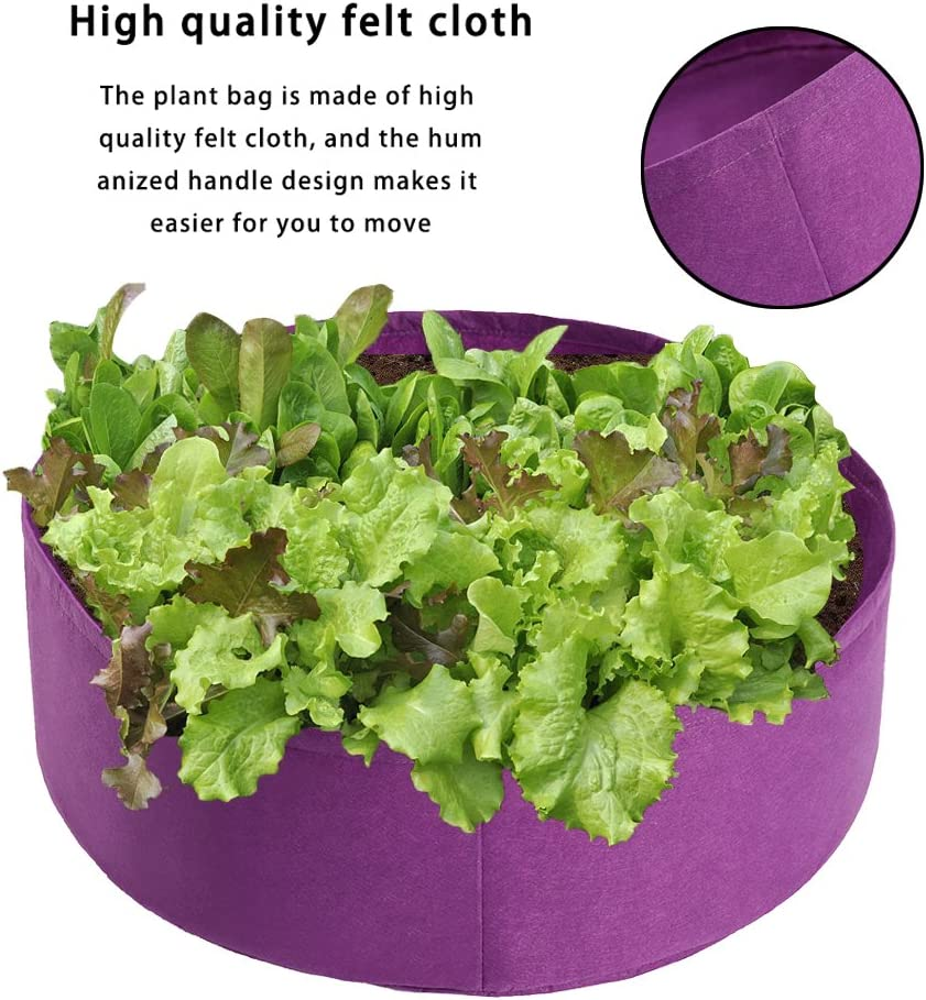 JIESD-Z 2 Pack 100 Gallon Plant Grow Bags Large Capacity Thicken Felt Non-Woven Aeration Fabric Potato Growing Pots Planter Container for Carrot Onion Vegetables