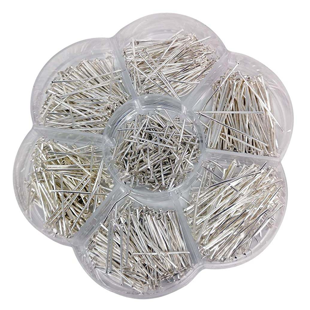 Chenkou Craft 700pcs Assorted of 7 Sizes Mix Flat Head Pins for Jewelry Making (Silver, Mix)