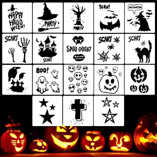 Halloween Stencil Templates - 18 Pack Halloween Letter Image Stencils for Pumpkin Carving, Crafts Making and Face Painting, Reusable Plastic Stencils for Halloween Wood Signs & Decoration Ideas