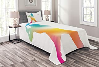 Ambesonne Baseball Bedspread, Colorful Reflection of Baseball Player Batter Softball Hitter Swinging Arms Print, Decorative Quilted 2 Piece Coverlet Set with Pillow Sham, Twin Size, Coral Teal