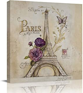 Print Picture Painting Canvas Wall Art Vintage Paris Effiel Tower Purple Flower 8x8in Wall Art for Office Wall Decor Home ...