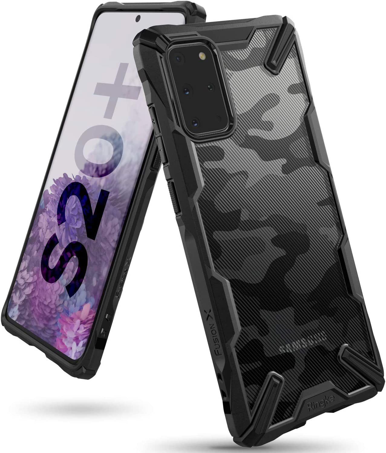 Ringke Fusion-X Design Compatible with Galaxy S20 Plus Case Case Only (2020), Design Back Shockproof Heavy Duty Bumper Cover - Camo Black