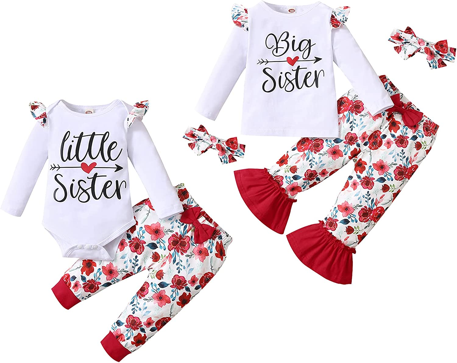 Baby Girl Sister Matching Outfits Little Big Sister Letter Ruffle Romper Top+Floral Pants+Headband 3Pcs Clothes