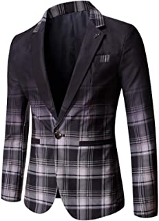Yivise Men's Plaid Suit Blazer Casual Slim Fit Single Breasted Cotton Lightweight Daily Dress Suit Jacket Sport Coat