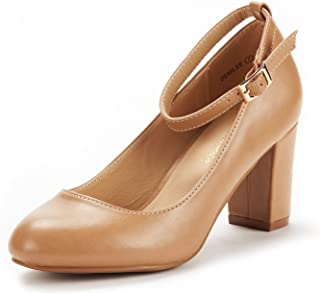 DREAM PAIRS Women's Demilee High Heel Chunky Pumps Shoes