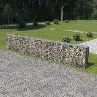Festnight Outdoor Gabion Wall Stone Basket Garden Decoration Galvanized Steel 236