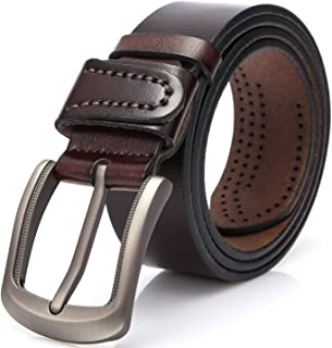 Dovava Mens Leather Belt Anti-scratched Buckle Soft Genuine Belts for Casual Jeans Dress