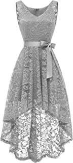2be57b2ec7f Berylove Rockabilly Robe de Soirée Cocktail sans Manche High Low en Dentelle