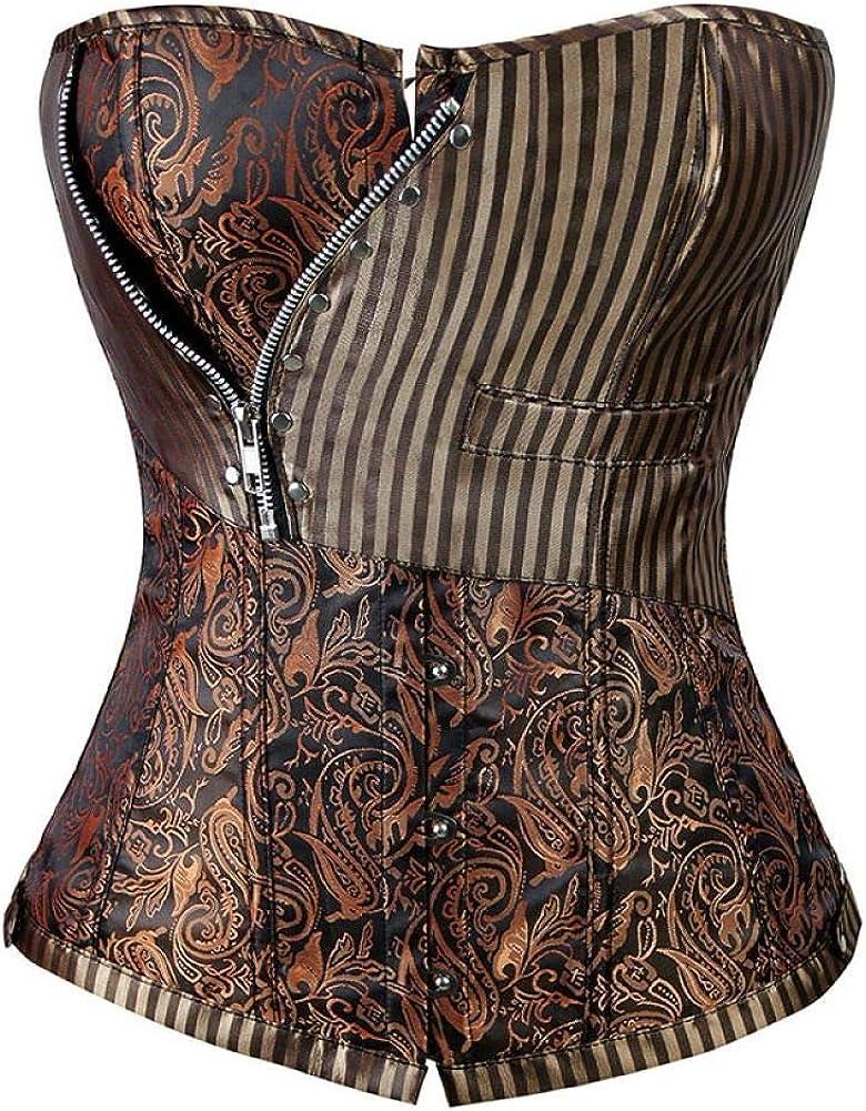 Overseas parallel import regular item Steampunk Corset Blackless Punk Our shop most popular Women Vintage Tops Corsets Zippe