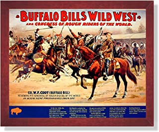 Cowboy Buffalo Bill Vintage Poster Ad Western Rodeo Picture Framed Art Print