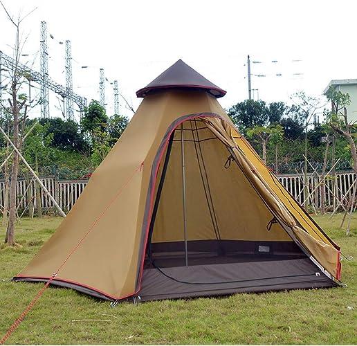 MDZH Tente Tente De Famille Camping Hexagonal Double Couche Mongolie Indienne 3-5Person