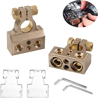 Auto Battery Terminal Connectors, SUNMORN 0/4/8/10 Gauge Heavy Duty AMP Car Battery Terminals Connector, Shims Positive & Negative, with Special Tools, 1 Pair