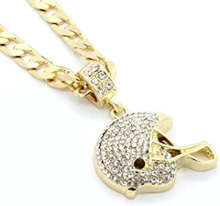 Mens Gold Tone Iced Out Football Helmet Small Pendant 6mm 24