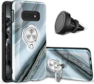 eSamcore Samsung Galaxy S10e Case - Luxury Marble Ring Holder Phone Cases + Vent Car Phone Mount for Samsung Galaxy S10e 2019 [Granite Gray]