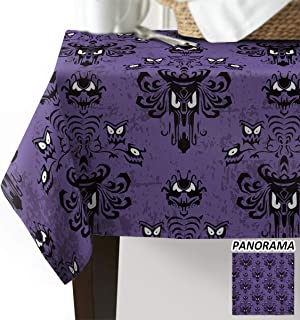 Beauty Decor Halloween Tablecloths Washable Fabric Rectangle Table Cloth Cover for Kitchen Dinning Tabletop Decoration Haunted Mansion 53x53inch