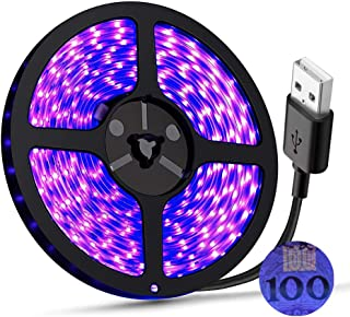 UV Light Strip USB LED Black Light Strip DC5V 390nm-400nm 6.56FT/2M SMD 3528 120LEDs IP65 Waterproof Super Bright LED Stri...