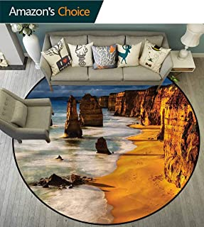 Coastal Round Carpet Mat Indoor Twelve Apostles Australia 3D Printing Round Picnic Mat Diameter-39