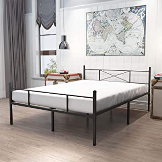 HAAGEEP Queen Bed Frame with Headboard and Footboard Black Metal Platform Bedframe with Storage No Box Spring Needed 14 In...
