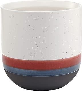 Rivet Westline Modern Indoor Outdoor Hand Painted Stoneware Planter Flower Pot, 10